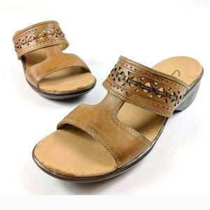 Clarks Bendables Brown Leather Slides Wedge Sandal